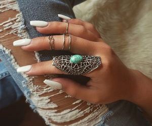 nails, rings, and pretty image