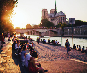 people, sunset, and city image