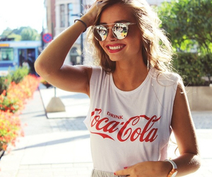 girl, coca cola, and summer image