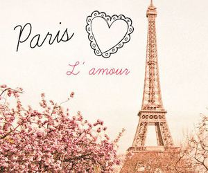 eiffel tower, flowers, and heart image
