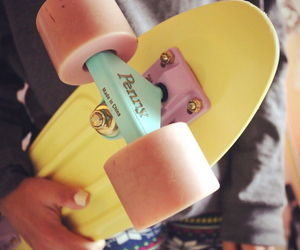 penny, girl, and skateboard image