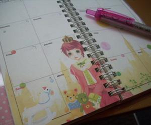 agenda, hello kitty, and pencil image