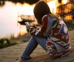 girl, sweater, and alone image