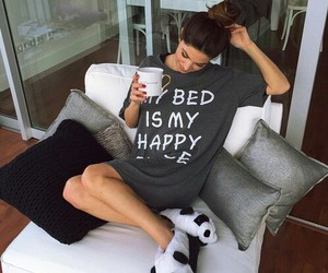 girl, bed, and coffee image