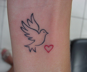 tattoo, dove, and heart image