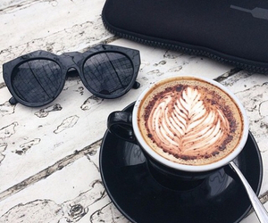 coffee, sunglasses, and black image