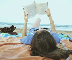 beach, books, and nerd image