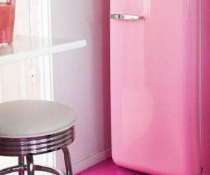 pink, fridge, and kitchen image