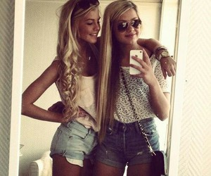 2 girls, cute, and blond image