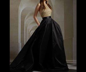 black, dress, and gold image