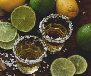 drink, lemon, and tequila image