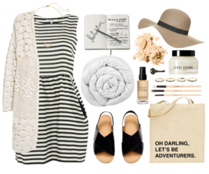 black and white, cozy, and floppy hat image