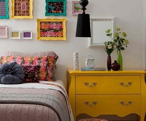 bedroom, yellow, and decor image