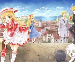 anime girl, lion, and anime boy image