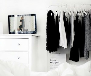 bed, clothes, and black image