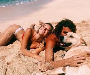 beach, couple, and dog image