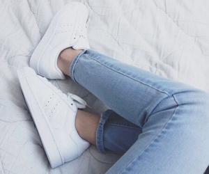 bed, jeans, and white image