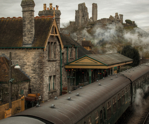 train, vintage, and autumn image