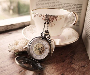 book, vintage, and tea image