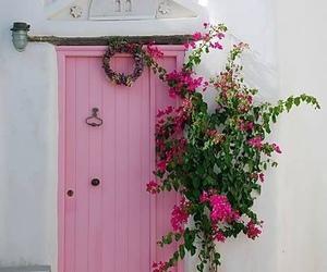 pink, flowers, and door image