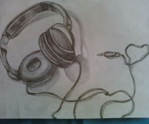 drawing, music, and headphones image