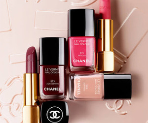 chanel, red lips, and nails polished image