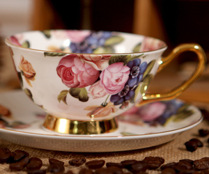 cup, coffee, and floral image