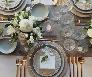 reception, wedding reception, and dinner table image
