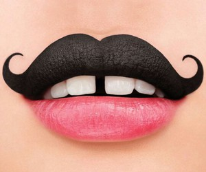 makeup, lips, and mustache image