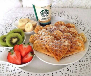 banana, breakfast, and waffles image