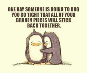 hug, love, and penguin image