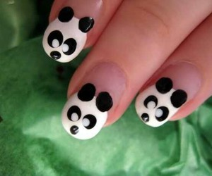 nails, panda, and nail art image