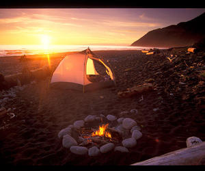 beach, camping, and tent image