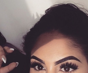 eyeliner, eyes, and hair image