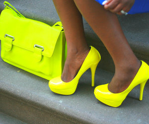 bag, heels, and neon image