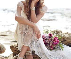 beach, bridal, and beautiful image