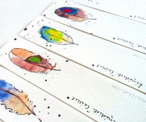book, illustration, and bookmarks image