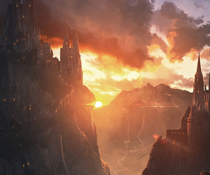 fantasy, castle, and sunset image