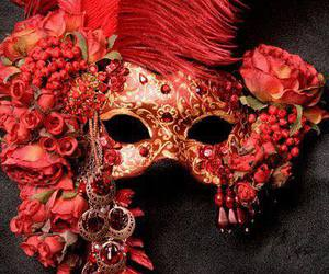 feather, masquerade mask, and flower image