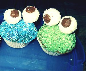big, blue, and cupcakes image