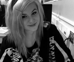black and white, blonde, and hoodie image