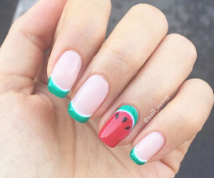 nail polish, nails, and watermelon image