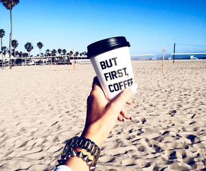 beach, coffee, and style image