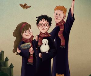 harry potter, the golden trio, and hermione granger image