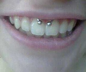 teeth, smiley piercing, and smile piercing image