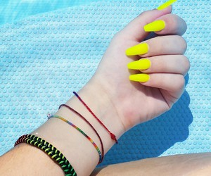my, nails, and yellow image