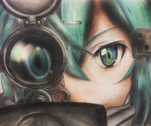 sword art online, sinon, and anime girl draw image