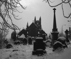 black and white, cemetery, and dark image