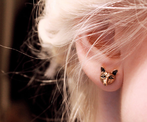 earrings, blonde, and fox image