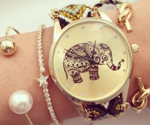 watch, elephant, and bracelet image